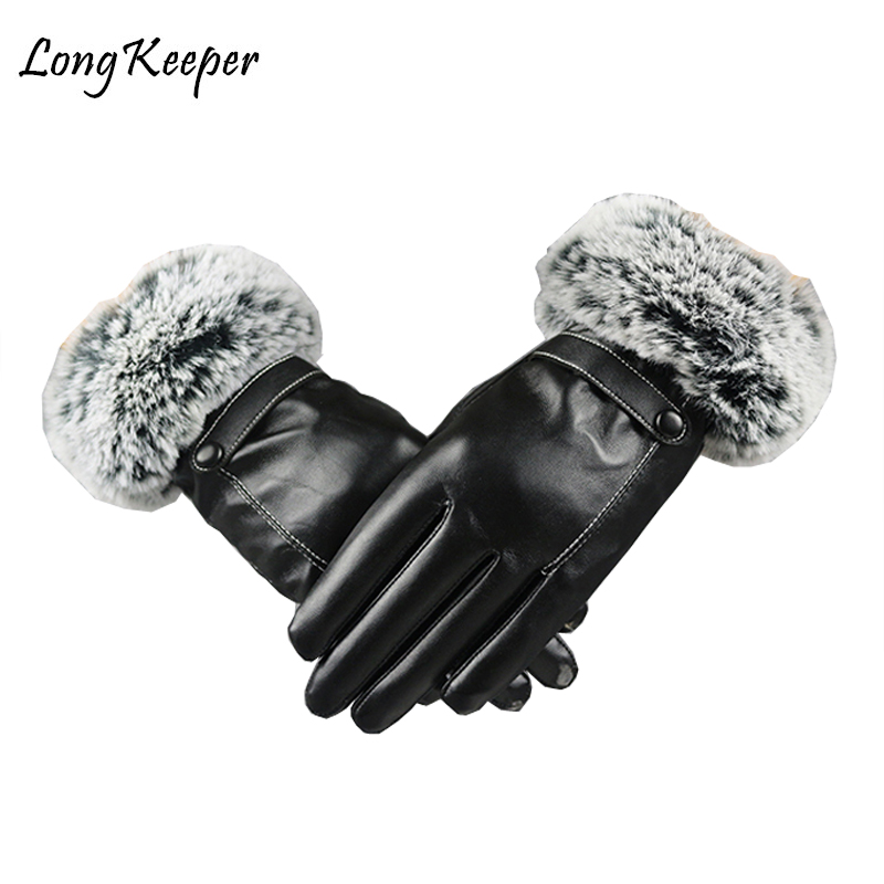 2018 Luxury Imported Real Rex Rabbit Fur Leather Gloves Women Black Red Sheepskin Leather Winter Glove Winter Thick Warm Gloves