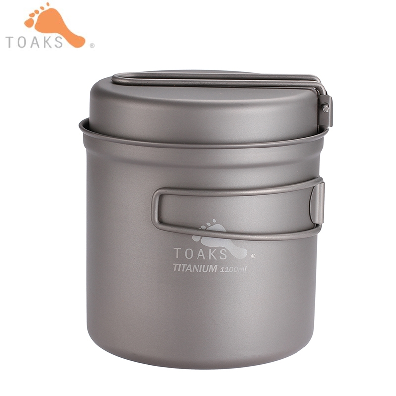 TOAKS 1100 ml batterie de cuisine en titane Pot poêle en plein air Camping voyage ultra-léger titane bol titane tasse pique-nique CKW-1100
