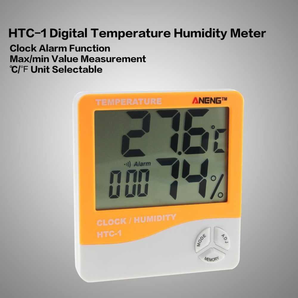 2018 HTC-1 interior electrónico LCD Digital medidor de humedad temperatura Digital termómetro higrómetro reloj despertador estación meteorológica