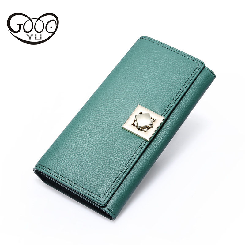 Ladies long section of Europe and the United States fashion leather wallet rotation buckle buckle leather wallet litchi pattern hot fashion europe and the united states fashion oil wax kraft handbag vertical section zipper multi color ladies shoulder messe