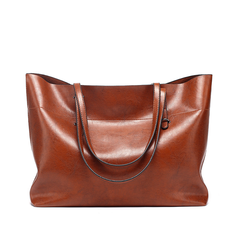 High Quality Women Shoulder Bags Fashion Women Handbags Oil Wax Leather Large Capacity Tote Bag Casual Pu Leather Messenger bag fashion women handbags with two straps high quality pu leather top handle tote bag female large capacity shoulder messenger bags