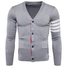 Cdear Mens Slim Comfortably Knitted Long Sleeve V-Neck Sweaters