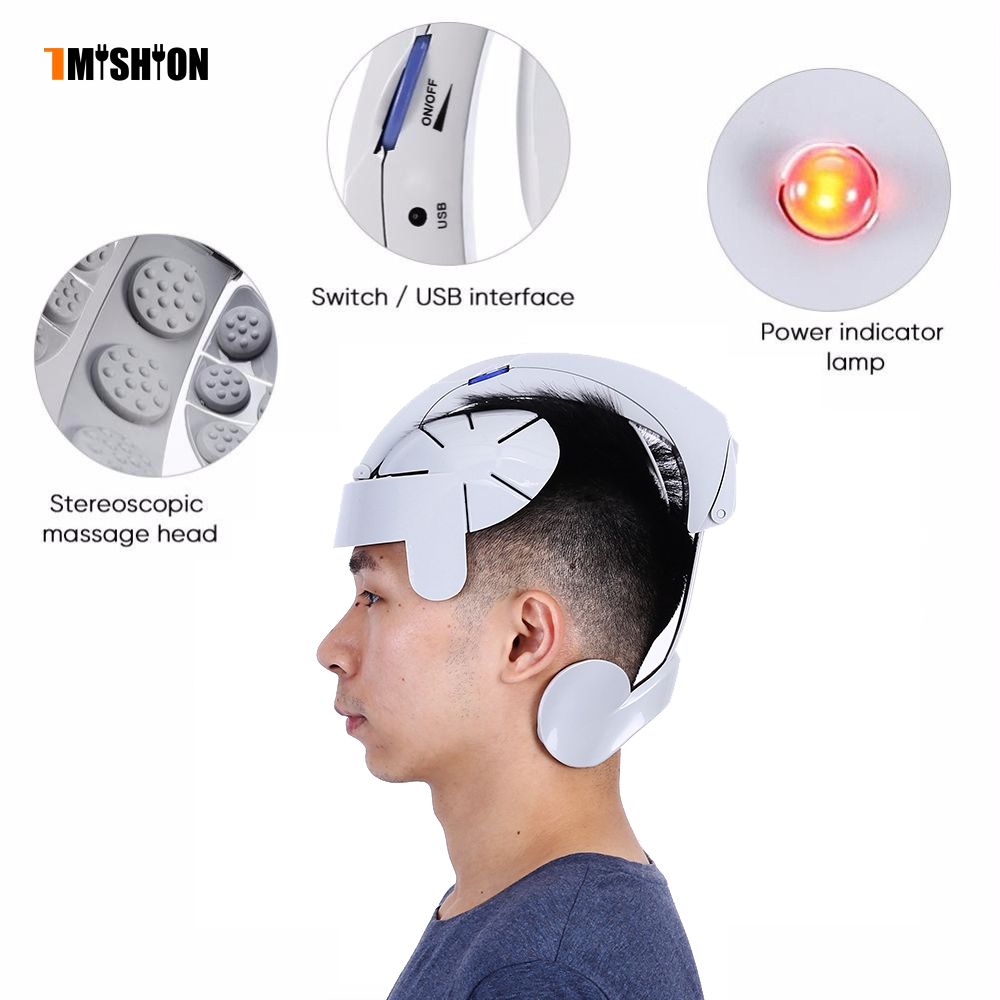 Portable Head Massager Electric Brain Relax Easy Acupuncture Points Therapy Hair Loss Head Stimulator Devices Electrostimulat humanized design electric head massager brain massage relax easy acupuncture points fashion gray health care home
