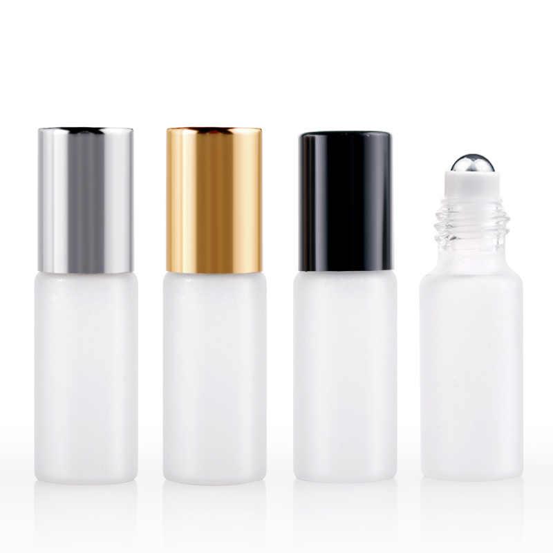 100 unids/lote 5ml Mini botella de Perfume recargable de vidrio esmerilado rollo de frasco de aceite esencial de vacío botella de muestra de Perfume