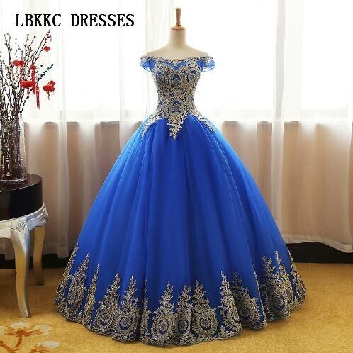 Aqua Blue Quinceanera Dresses Tulle Withh Gold Appliques Lace Sweet 16 Dresses Ball Gowns Vestidos De 15 Anos Debutante(China)
