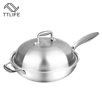 TTLIFE 32CM 34CM Smokeless Wok Sets Use For Induction Cooker Gas Non Stick Pan Cooking Pot