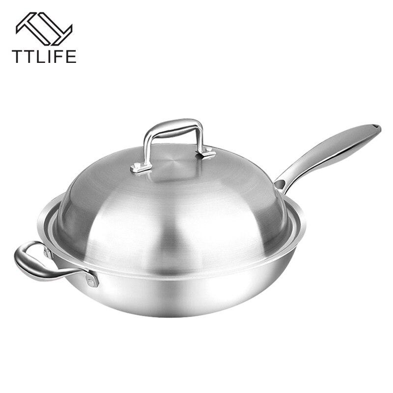 TTLIFE 32 cm 34 cm Sans Fumée Wok Ensembles Utiliser pour Cuisinière À Induction Gaz Poêle antiadhésive Marmite Avec sécurité Poignée et Couvercle