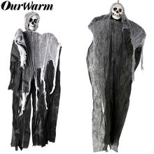 OurWarm Haunted House Hanging Ghost Halloween Decoration Horror Props Creepy Skeleton Grim Reaper Home Door Bar Decor