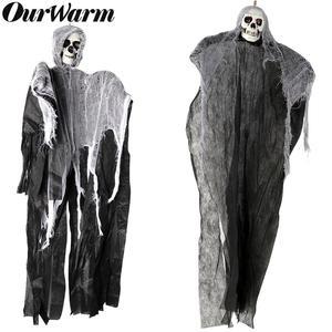 OurWarm Haunted House Hanging Ghost Halloween Decoration Horror Props Creepy Skeleton Hanging Grim Reaper Home Door Bar Decor