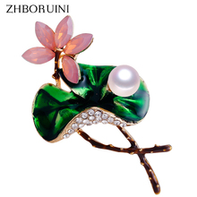 ZHBORUINI 2019 New High Quality Real Natural Freshwater Pearl Brooch Lotus Enamel Flower Brooch Pins Pearl Jewelry For Women new free shipping flower jewelry natural 4 10mm black freshwater pearl embellished sunflower floral pin brooch top quality