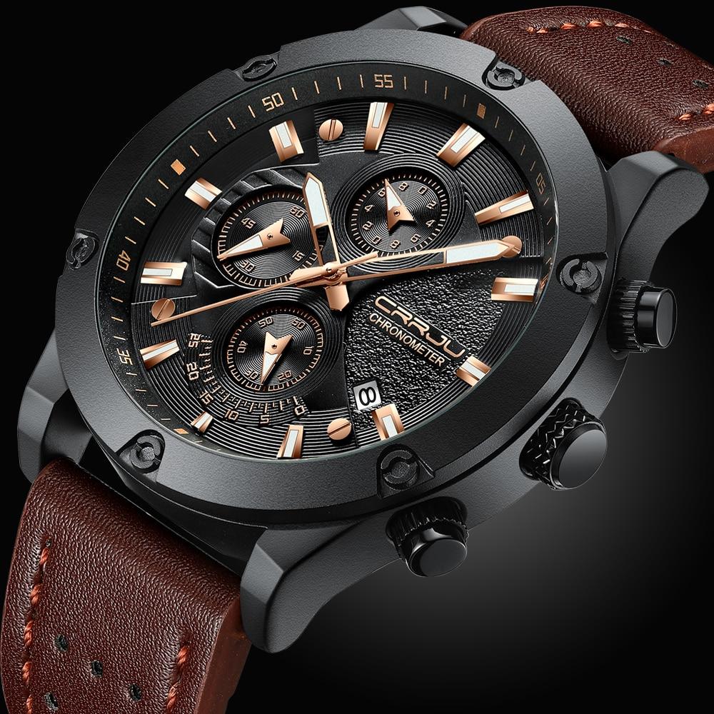 Relojes para hombre CRRJU Top marca de lujo reloj deportivo único para hombre  reloj de cuarzo reloj de pulsera impermeable reloj Masculino bd7bd52ee325