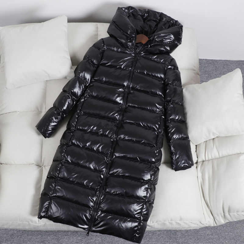 96a454de1 Women Down Coat Girl's Shiny Winter Long Down Jacket Hooded Fashion Top  Female New Thermal Thicken Coats BLACK