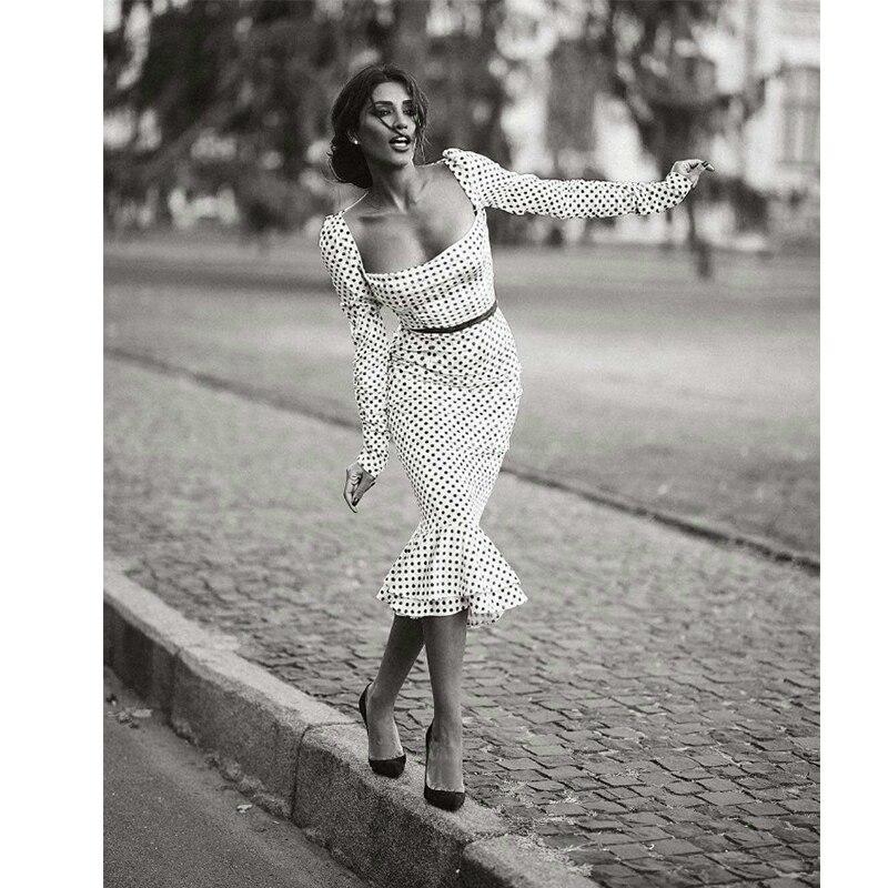 Elegant White Knotted Strap Polka-dot Mermaid Hem Summer Pencil Midi Dress Women Slim Bodycon Office Lady Ruffle Dresses 2