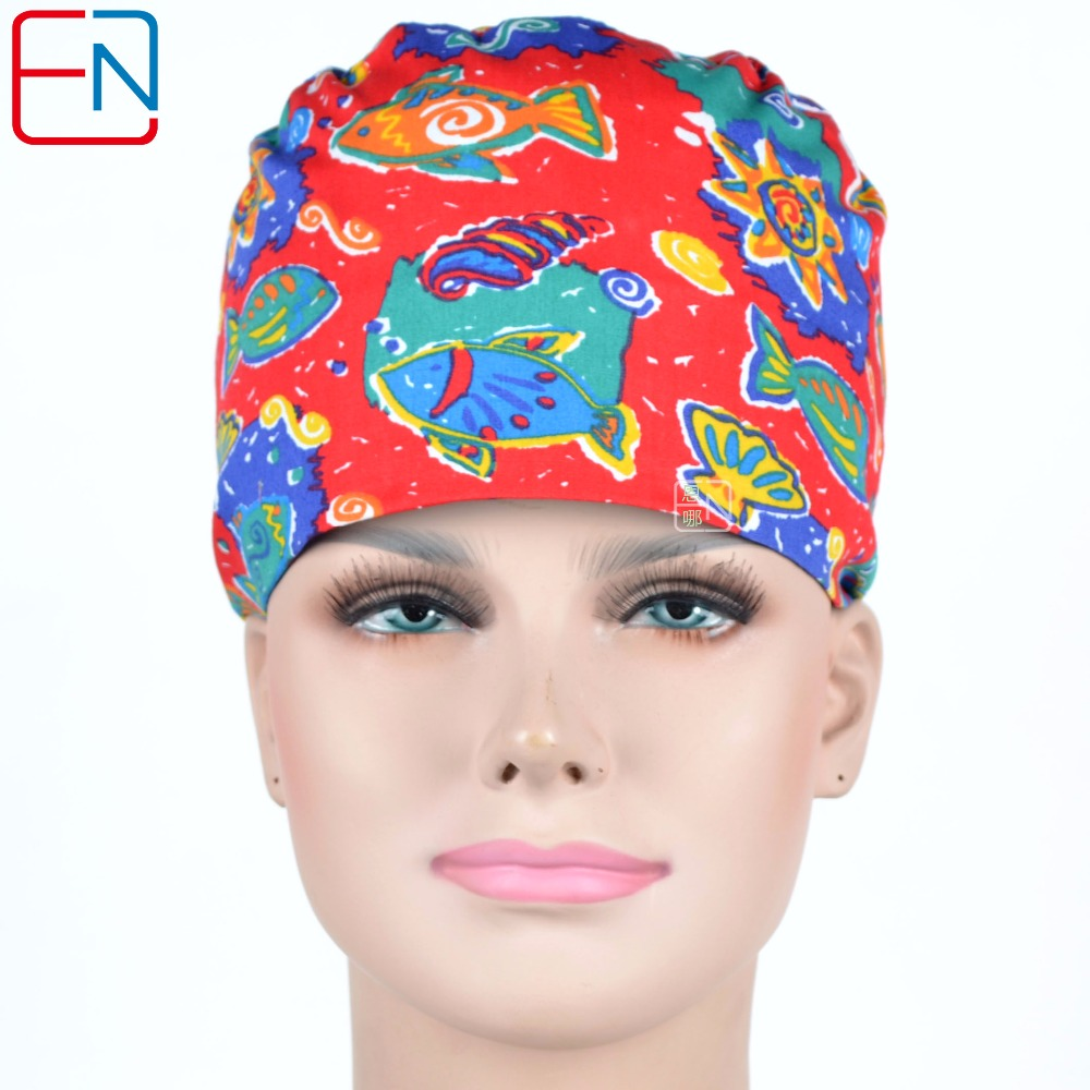 Hennar Women Scrub Caps Medical Surgical In Red Doctor Caps Sea Fish Print High Quality Hospital Nurse Lab Caps Skull Hats