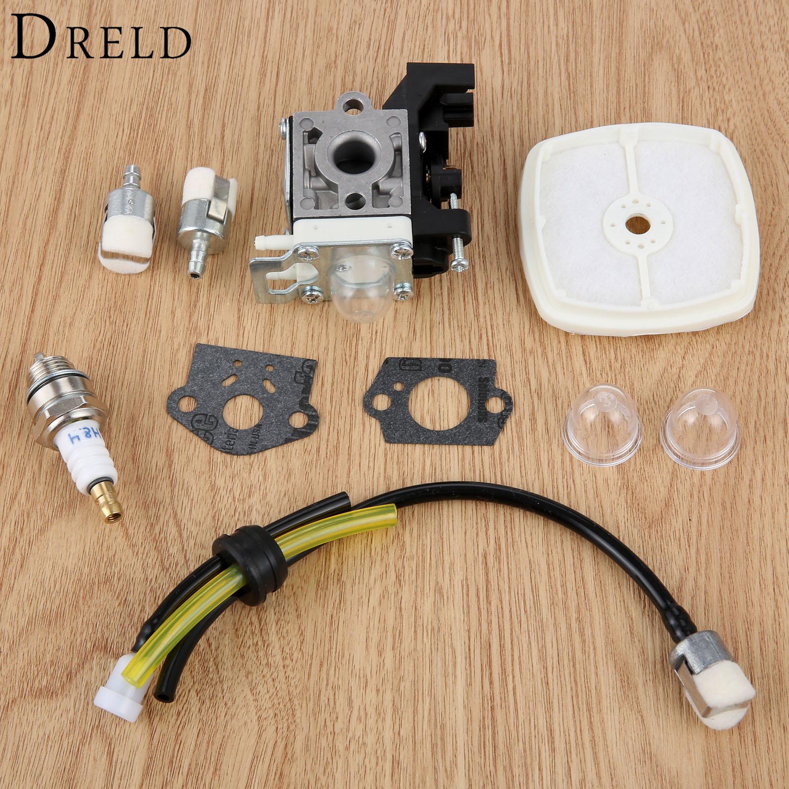 DRELD Carburetor Air Filter Fuel Line Kit for Zama RB-K93 Echo SRM-225 GT-225 PAS-225 Trimmer Brushcutter Chainsaws Tool Parts kelkong 5 carburetor primer bulbs fuel pump oem for chainsaws blowers trimmer homelite echo ryobi poulan parts