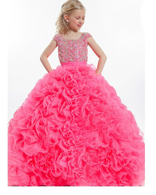 Luxury Bling Bling Crystals 2017 Ball Gown Girls Long Pageant Dress Square Neck Sleeveless Flower Girl Dress CUSTOM MADE halter neck cut out sleeveless long dress