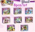New Arrival 8pcs/Lot Girl's Friends Emma/Mia Cat Play Pet House Building Blocks Children compatible with legoe DIY Kids Toys