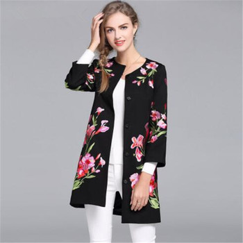 Vintage royal embroidery autumn basic jacket coat woman Tops elegant slim lady plus size black floral casual coat female S-4XL