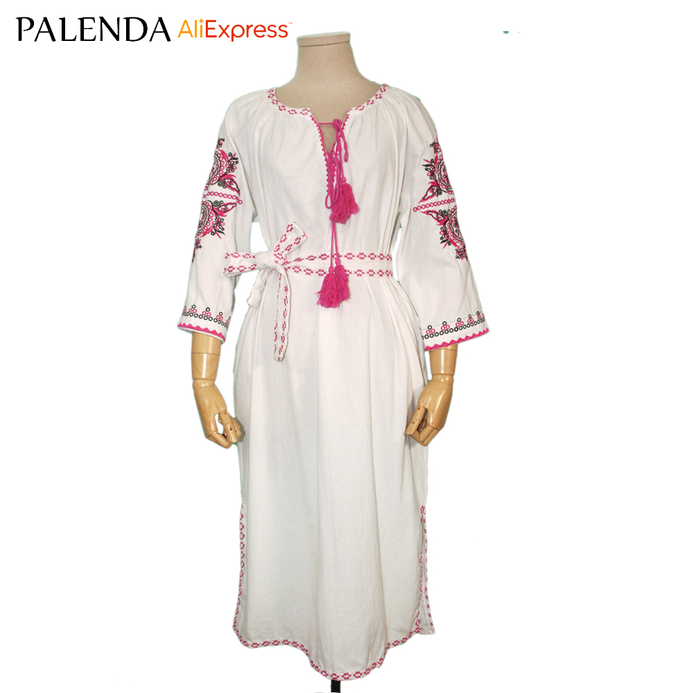 Palenda new embroidery dress with tassel cotton wide