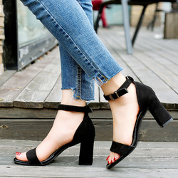 2019 Ankle Strap Heels Women Sandals Summer Shoes Women Open Toe Chunky High Heels Party Dress Sandals Big Size 40 2