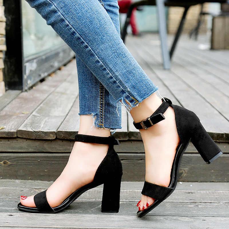 3c3642095209 ... 2019 Ankle Strap Heels Women Sandals Summer Shoes Women Open Toe Chunky  High Heels Party Dress ...