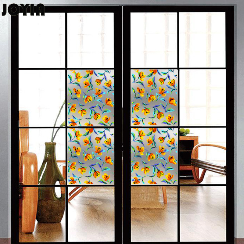 40x45cm Frosted Window Filmglass Door Decorative Yellow Flowers