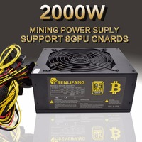 Asic Bitcoin New Gold Power 2000W PLUS BTC Power Supply ATX Mining Machine Supports 8 GPU