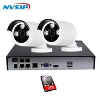 4CH 1080P CCTV System POE NVR 960P Output 2PCS 2MP IP Camera Waterproof Video Security Surveillance