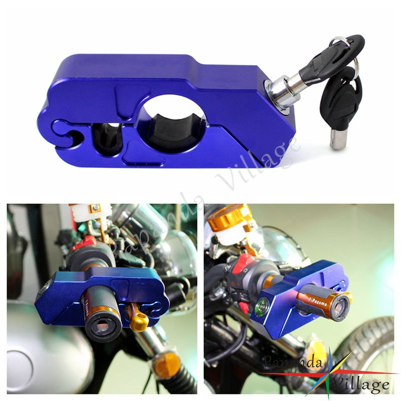 Papanda Motorcycle Blue Aluminum Brake Hand Grip Lock Security Protection For Honda Suzuki Kawasaki Yamaha ATV Scooters