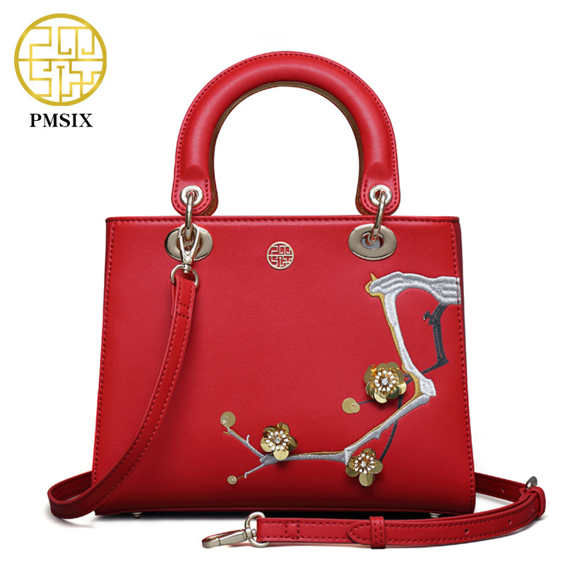 Pmsix 2018 NEW Autumn&Winter Handbags Split Leather Women's bag High quality  versatile Embroidery Flowerswomen shoulder bags pmsix 2018 new autumn