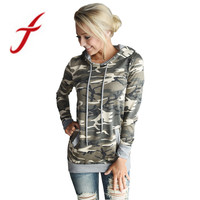 Feitong Autumn Womens Clothing Casual Camouflage Printing Pocket Sweatshirt Hooded Pullover Tops Camiseta Feminina Best Quality