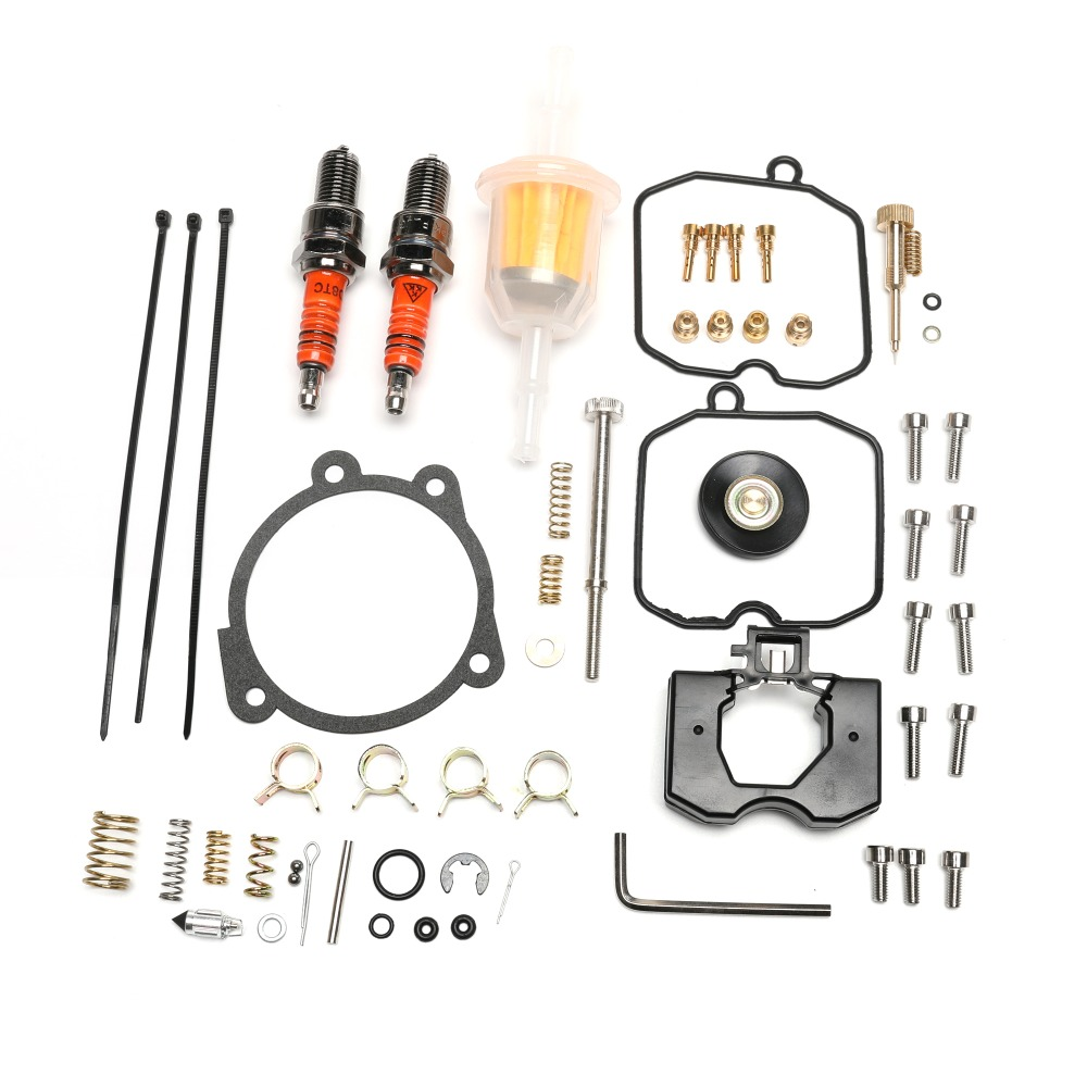 Rebuild Kit for Harley Davidson Keihin CV Carburetor 1990 2018 with Idle Screw Spark Plug Fuel Filter Low Range Jet 27006 88