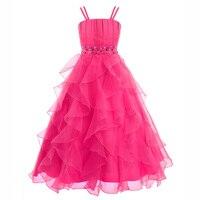 Dziewczyny Księżniczka Szyfonowa Sukienka Wesele Długie Suknie Ślubne Ruched Ramię Sukienka Dzieci Pierwsza Komunia Święta Suknie na 14 Rok