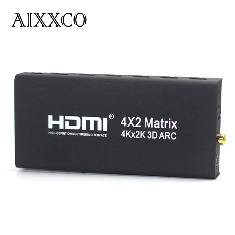AIXXCO HDMI V1.4 HDMI Matrix 4X2 (4 to 2) Switch Switcher Splitter Amplifier Support 4K*2K 3D 1080P aixxco 4k 1x2 hdmi 2 0 splitter 1080p 1