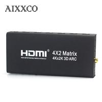 AIXXCO HDMI V1.4 HDMI Matrix 4X2 (4 to 2) Switch Switcher Splitter Amplifier Support 4K*2K 3D 1080P