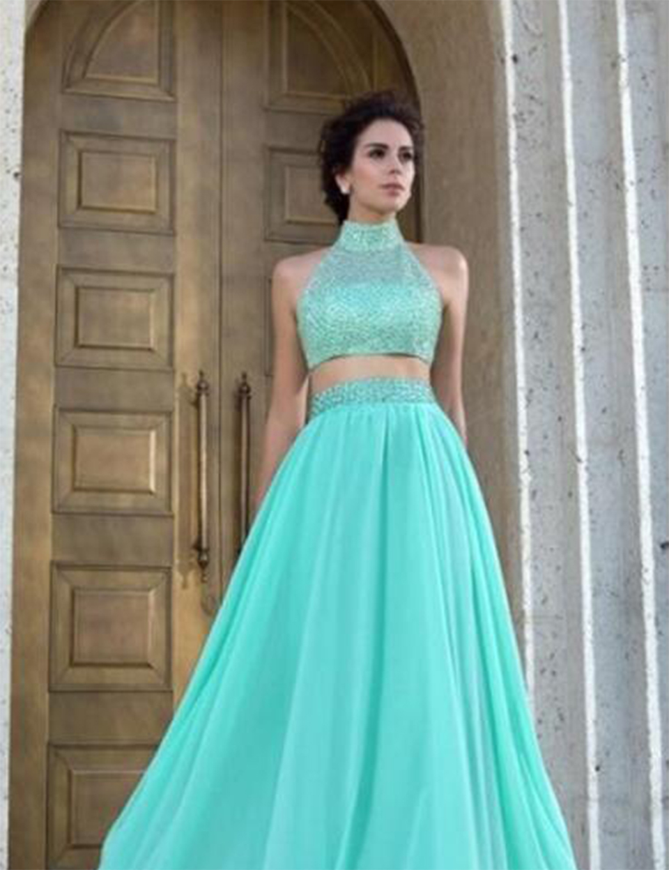 Beautiful Beaded Two Piece Prom Dress Tulle Light Green Turquoise ...