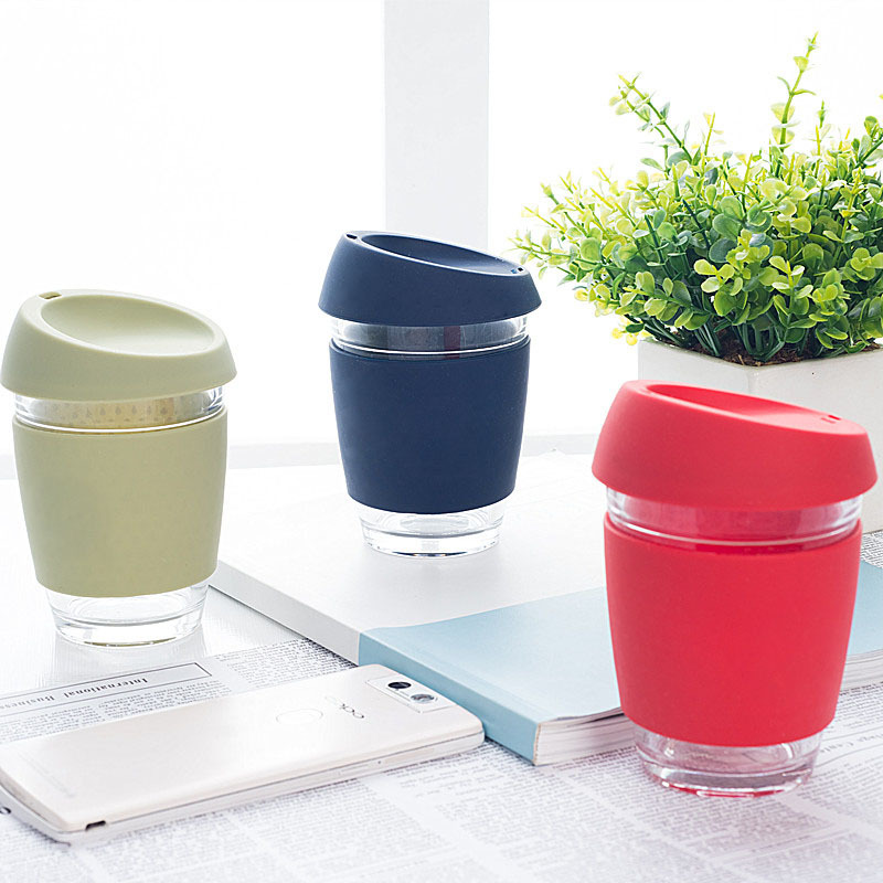 340ml Keep-cup style Brande design coffee Glass mug with lid creative coffee mug Anti-hot portable water cups Кубок