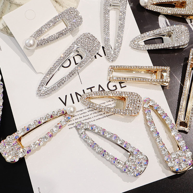 9ecd55aa6007c Detail Feedback Questions about 2019 New Fashion Flash Luxury Temperament  Full Diamond Crystal Pearl Elegant Women Barrettes Hair Clip Hairpin Hair  ...
