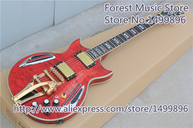 Cheap China Red Quilted Finish LED Light Jazz Guitar Electric As Picture & Gold Bigsby For Sale