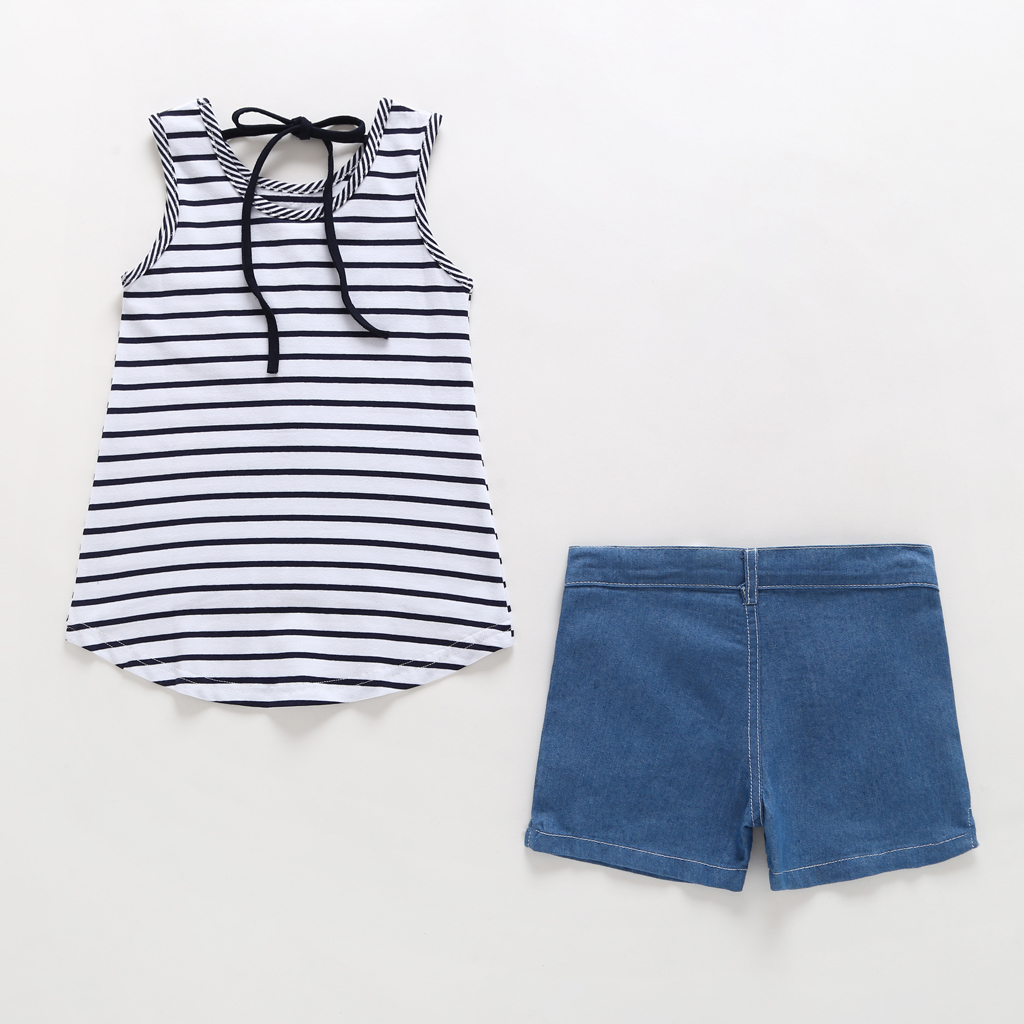7 For All Mankind Girls Toddler Vest Fashion Tank Top and Denim Jean Set