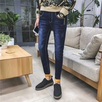 The Winter With Velvet Jeans Male Korean Slim Type Pants Thickened Stretch Jeans Skinny Jeans Men