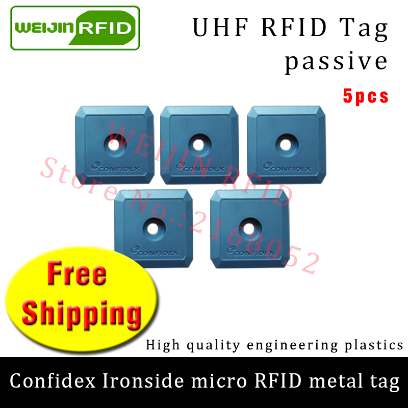 UHF RFID metal tag confidex ironside mirco 915m 868m Impinj Monza4QT EPC 5pcs free shipping durable ABS smart passive RFID tags high quality programmable uhf rfid tags passive for rubber automobile tires management inventory