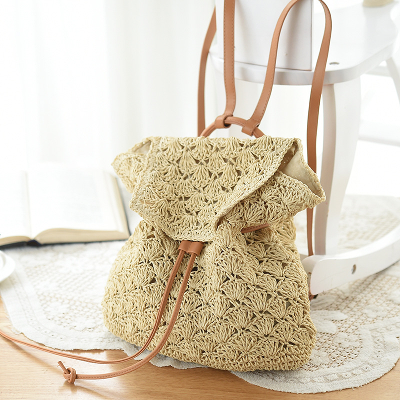 Mochilas Popular Women Bag Backpack Designer Fashion Hollow Out Woven Drawstring Summer Beach Backpacks Women Bags Straw Bag