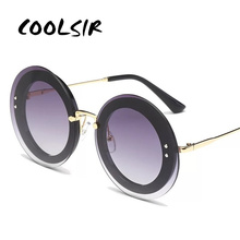 COOLSIR Newest Fashion Round Sunglasses Women Brand Designer Vintage Gradient Shades Sun Glasses Oculos De Sol Feminino Lentes