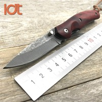 LDT KW08 Folding Knives Damascus Blade Sandal Wood Steel Handle Knife Camping Outdoor Survival Pocket Tactical Knife EDC Tool