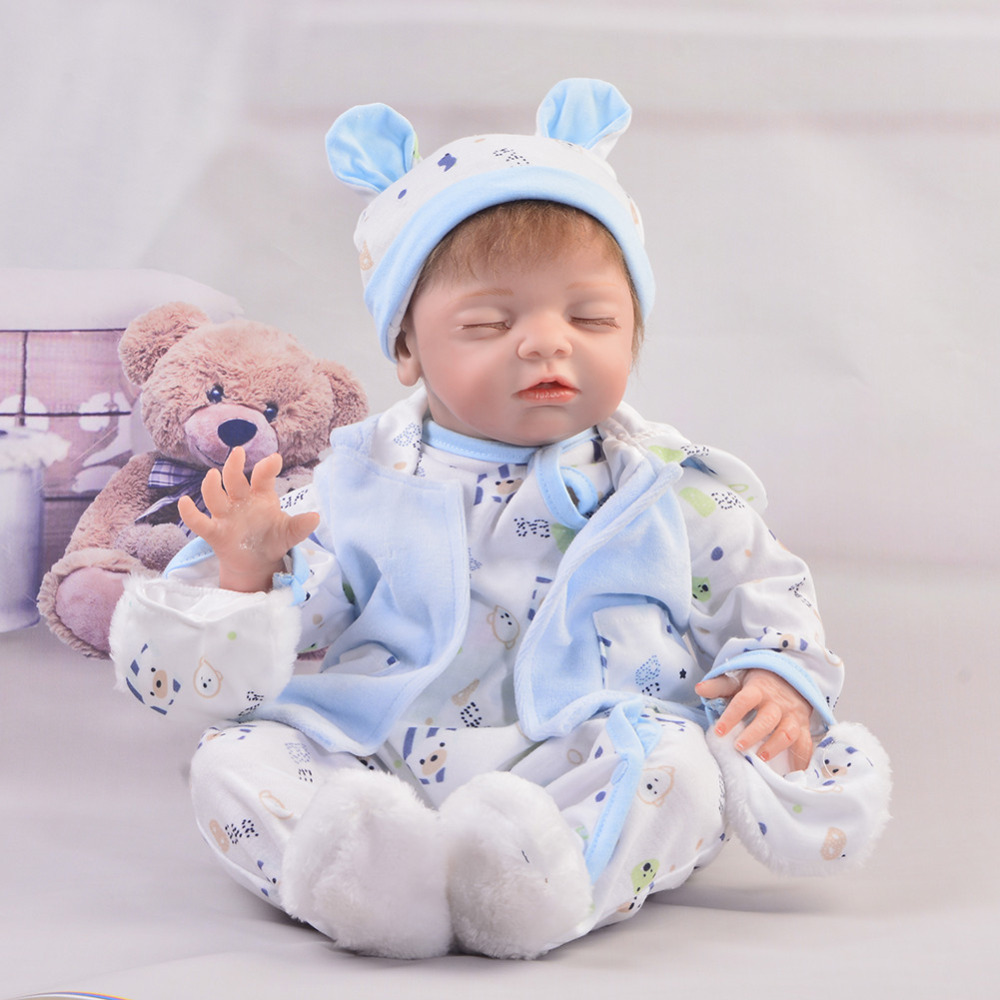 KEIUMI 50 cm Soft Silicone Vinyl Reborn Baby Doll Boy 22 Inch Realistic Sleeping Reborn Dolls DIY Toy For kids Birthday Gifts keiumi 22 55 cm realistic baby alive boy doll soft silicone vinyl lifelike reborn doll toy for toddler birthday xmas gifts