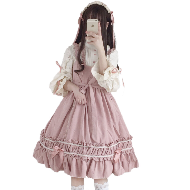 91679d41a9b Japanese Sweet Lolita Women Jumper Dress Young miss Students Soft sister Bow  Frilled Ruffled Hem Girly
