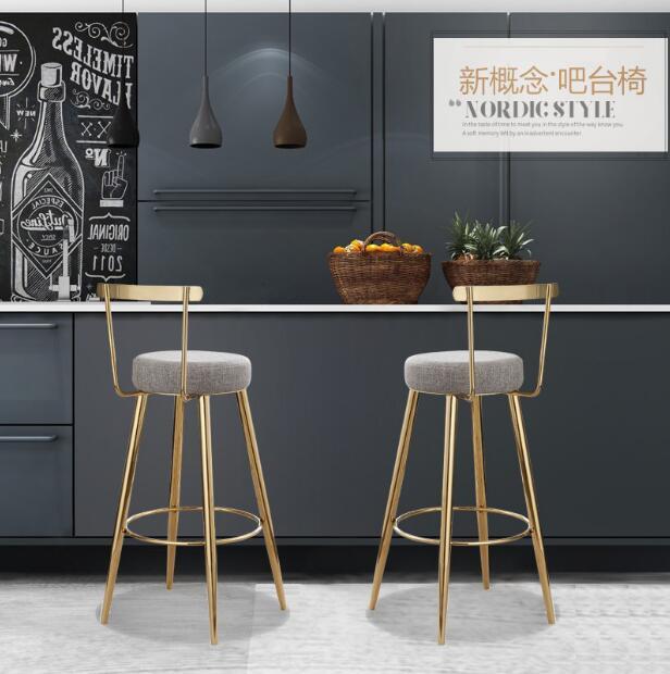 Chaise de bar nordique moderne et simple ménage ferronnerie dossier créatif or salle à manger chaise caissier loisirs tabouret haut