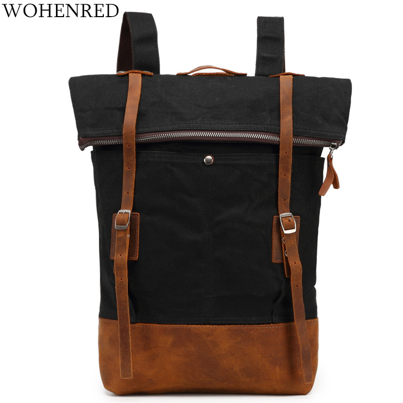 Vintage Men Backpack 2018 New Canvas Leather Casual Daypacks Rucksack High Quality Man Large Waterproof Travel Shoulder BackpackVintage Men Backpack 2018 New Canvas Leather Casual Daypacks Rucksack High Quality Man Large Waterproof Travel Shoulder Backpack