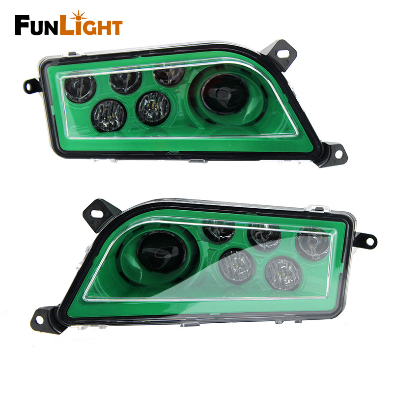 Free shipping NEW Polaris RZR XP 1000 900 Right and Left led Headlight Green/ Chrome